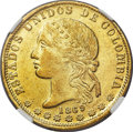 Colombia, Colombia: Republic gold 20 Pesos 1869-MEDELLIN AU58 NGC,...