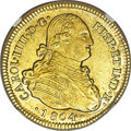 Chile, Chile: Charles IV gold 4 Escudos 1804 So-FJ AU58 NGC,...