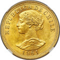 Chile, Chile: Republic gold 50 Pesos 1961-So MS65 NGC,...