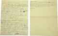 Autographs:Others, 1966 Handwritten Notes for Casey Stengel's Hall of Fame InductionSpeech from the Casey Stengel Collection. Titanically imp...