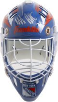Hockey Collectibles:Others, Mike Richter Signed New York Rangers Replica Helmet. The Goalie helmet is signed by one of the most successful American-bor...