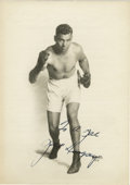 """Boxing Collectibles:Autographs, Jack Dempsey Signed 5x7. Our first impression of this signed photobelies its full meaning. Generically personalized """"To a..."""