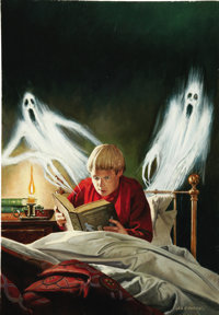LES EDWARDS (English 20th Century) Victorian Ghost Stories, 1996, original book cover illustration Acrylic on paper