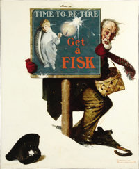 NORMAN ROCKWELL (American 1894 - 1978) Time to Retire: Old Man with Shopping Basket, Fisk Tire Company, automobile tir...