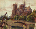 Texas:Early Texas Art - Regionalists, LLOYD GOFF (1908-1982). Untitled Notre Dame, 1928. Oil on paper. 8x 9-1/2 inches (20.3 x 24.1 cm). Unsigned, accompanied by...