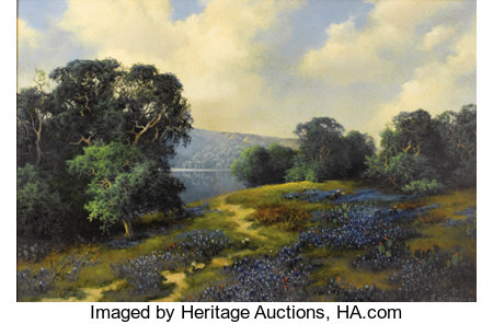 A. D. GREER (1904-1998)Untitled Hill Country River with Bluebonnets, 1986Oil on canvas24 x 36 inches (61.0 x 91.4 ...