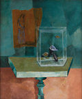 Texas:Early Texas Art - Regionalists, KELLY FEARING (b. 1918). A Study in Reversed Perspective UsingTable and Aquarium, 1946. Oil on canvasboard with collage...