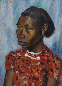 EDMUND KINZINGER (1888-1963) Young Girl, 1938 Oil on artistboard 23 x 17 inches (58.4 x 43.2 cm)<