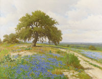 PORFIRIO SALINAS (1910-1973) Untitled Bluebonnets and Oak, 1950s Oil on canvas 28 x 36 inches (71