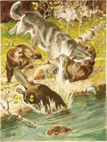 Illustration:Magazine, BILL GRIFFITH (American 20th Century) . Wolf AttackingBeaver, original Sports Afield illustration, May 1957 .Gouac... (Total: 1 Item)