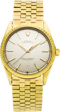 Timepieces:Wristwatch, Rolex Men's Gold Oyster Perpetual Bracelet Wristwatch, circa 1986.Case: 34 mm, 14k yellow gold Oyster case with fluted be... (Total:1 Item)