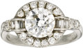 Estate Jewelry:Rings, Diamond, Platinum Ring. The ring features a round brilliant-cutdiamond measuring 7.40 - 7.38 x 4.45 mm and weighing appro...(Total: 1 Item)