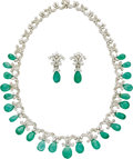 Estate Jewelry:Suites, Emerald, Diamond, White Gold Jewelry Suite. ... (Total: 3 Items)