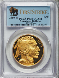 2010-W $50 One-Ounce Gold Buffalo, First Strike PR70 Deep Mirror Prooflike PCGS. PCGS Population: (1230). NGC Census: (1...