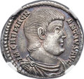 Ancients:Roman Imperial, Ancients: Magnentius, usurper in the West (AD 350-353). AR heavy siliqua (19mm, 3.64 gm, 7h). NGC Choice AU 4/5 - 4/5, flan flaw....