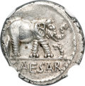Ancients:Roman Republic, Ancients: Julius Caesar, as Dictator (49-44 BC). AR denarius (17mm, 3.94 gm, 3h). NGC MS 4/5 - 4/5....