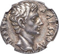 Ancients:Roman Imperial, Ancients: Augustus (27 BC-AD 14). AR denarius (18mm, 3.81 gm, 7h).NGC  AU ★ 4/5 - 5/5....