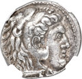 Ancients:Greek, Ancients: MACEDONIAN KINGDOM. Demetrius I Poliorcetes (306-283 BC). AR tetradrachm (27mm, 17.08 gm, 6h). NGC Choice XF 5/5 - 4/5....