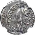 Ancients:Roman Republic, Ancients: Julius Caesar, as Dictator (49-44 BC). AR denarius (18mm, 3.67 gm, 9h). NGC XF 4/5 - 2/5....