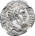 Ancients:Roman Imperial, Ancients: Pertinax (AD 193). AR denarius (18mm, 3.60 gm, 12h). NGCXF 4/5 - 4/5....