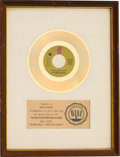 "Music Memorabilia:Awards, The Three Degrees ""When Will I See You Again"" RIAA White Matte Gold Record Sales Award...."