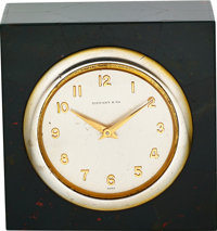 Tiffany & Co. Bloodstone and Sterling Desk Clock