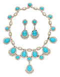 "American:Academic, A Zsa Zsa Gabor Suite of Jewelry, Circa 1970s.. An elaboratenecklace of sky-blue beads and rhinestones, marked ""Ciner;"" wit...(Total: 3 Items)"