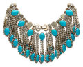 American:Academic, A Zsa Zsa Gabor Elaborate Designer Necklace, Circa 1960s.. Brightturquoise-colored oval-shaped beads and rhinestones in a g...
