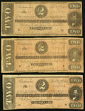 Confederate Notes, T70 $2 1864 PF-1 Cr. 569. Three Examples.. ... (Total: 3 notes)