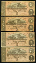 Confederate Notes, T69 $5 1864 PF-1 Cr. 558 Four Examples. . ... (Total: 4 notes)