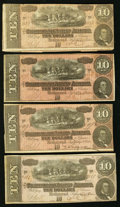 Confederate Notes, T68 $10 1864. PF-31 Cr. 549 Four Examples.. ... (Total: 4 notes)