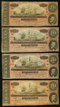 Confederate Notes, T67 $20 1864. PF-1(2); PF-16(2) Cr. 504(2); Cr. 516(2) Four Examples.. ... (Total: 4 notes)