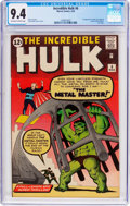 Silver Age (1956-1969):Superhero, The Incredible Hulk #6 (Marvel, 1963) CGC NM 9.4 Off-white to white pages....