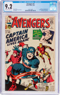 Silver Age (1956-1969):Superhero, The Avengers #4 (Marvel, 1964) CGC NM- 9.2 Off-white to white pages....