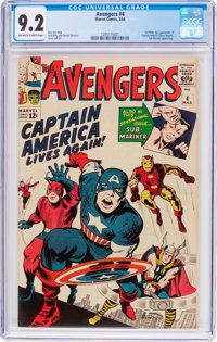 The Avengers #4 (Marvel, 1964) CGC NM- 9.2 Off-white to white pages