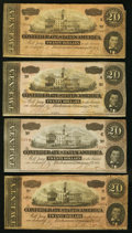 Confederate Notes, T67 $20 1864 PF-1(3); PF-16 Cr. 504(3); Cr. 516. Four Examples.. ... (Total: 4 notes)