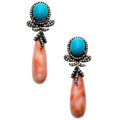 Estate Jewelry:Earrings, Coral, Turquoise, Diamond, Gold, Sterling Silver Earrings. ...