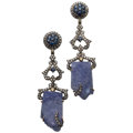 Estate Jewelry:Earrings, Tanzanite, Sapphire, Diamond, Silver, Gold Earrings. ...