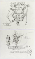 Animation Art:Concept Art, Ripping Friends Concept Art Animation Drawing and FolderGroup of 4 (Spümco, 2001-2002).... (Total: 4 Items)