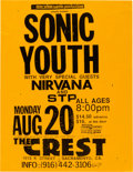 Music Memorabilia:Posters, Sonic Youth / Nirvana / STP Crest Concert Flyer (1990)....