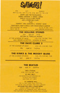 Music Memorabilia:Posters, Beatles, The Rolling Stones, The Dave Clark 5, The Kinks and TheMoody Blues Handbill (US, 1965)....