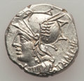 Ancients:Roman Republic, Ancients: M. Baebius Q.f. Tampilus (137 BC). AR denarius (3.93 gm). NGC (photo certificate) MS 4/5 - 5/5, flan flaw....