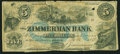 Canadian Currency, Elgin, PC- The Zimmerman Bank $5 Nov. 1, 1859 Ch. # 815-12-08-06R....