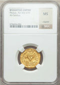 Ancients:Byzantine, Ancients: Phocas (AD 602-610). AV solidus. NGC MS, clipped....