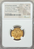 Ancients:Byzantine, Ancients: Heraclius (AD 610-641), with Heraclius Constantine andHeraclonas. AV solidus (20mm, 4.48 gm, 6h). NGC MS 4/5 - 4/5....