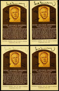 Baseball Collectibles:Others, Hank Greenberg Signed Hall of Fame Plaque Postcard Collection (4). ...