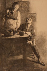 M. Leone Bracker (American, 1885-1937) Contemplation Charcoal on board 30.5 x 22 in. (sight) S