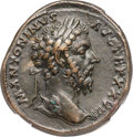 Ancients:Roman Imperial, Ancients: Marcus Aurelius (AD 161-180). AE sestertius (33mm, 26.02gm, 11h). NGC XF 4/5 - 3/5, Fine Style....