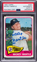 Autographs:Sports Cards, Signed 1965 Topps Mickey Mantle #350 PSA/DNA Auto Mint 9. ...
