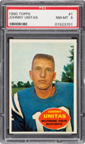 Football Cards:Singles (1960-1969), 1960 Topps Johnny Unitas #1 PSA NM-MT 8 - Only Three Higher....